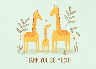 Baby Shower Thank You - Giraffes 5.25x3.75 Folded Card