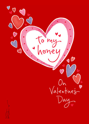 Honey Hearts 5x7 Folded Card