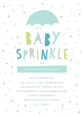 Baby Sprinkle - Blue and Green 5x7 Flat Card