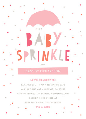 Baby Sprinkle - Pink and Grey 5x7 Flat Card