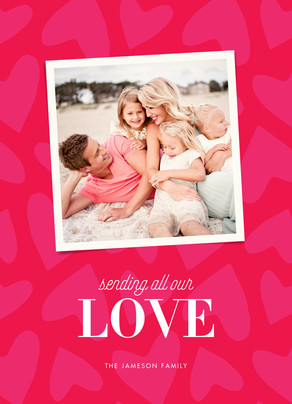 Pink Hearts Photo 5x7 Flat Card