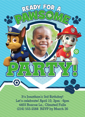 Paw Patrol Pawsome Party Invite 5x7 Flat Card