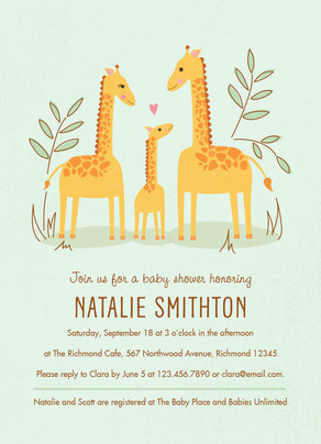 Baby Shower Giraffes 5x7 Flat Card