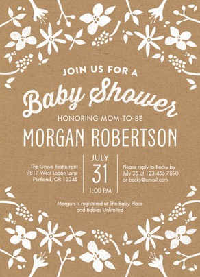 Baby Shower - Floral on Kraft 5x7 Flat Card