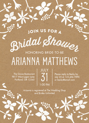 Bridal Shower - Floral on Kraft 5x7 Flat Card