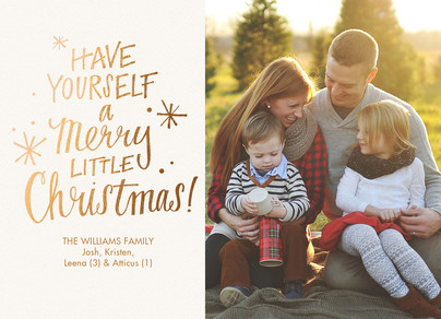 Merry Little Christmas - Gold Lettering 7x5 Flat Card
