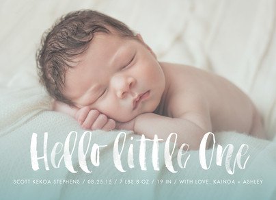 Hello Little One - Blue 7x5 Flat Card