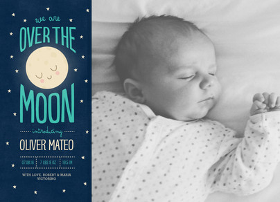 Over the Moon - Blue 7x5 Flat Card