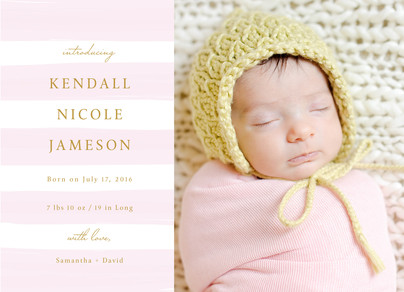 Pink Stripes Baby Announcement 7x5 Flat Card