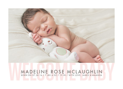 Welcome Baby - Pink 7x5 Flat Card