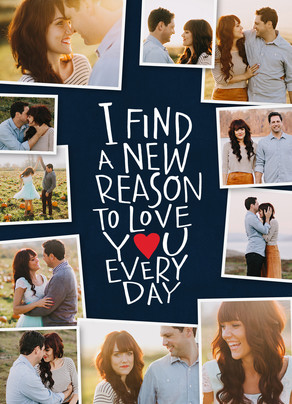 Reasons to Love You - Anniversary Photo Card 5x7 Folded Card