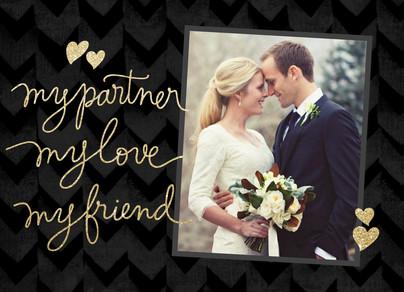 Script Valentine's Day Photo Card on Black 7x5 Folded Card