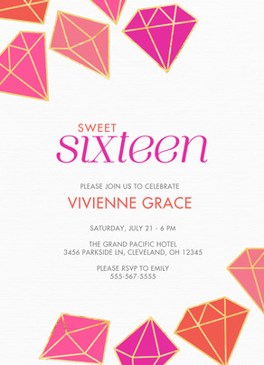 Sweet Sixteen Birthday Invitation 5x7 Flat Card
