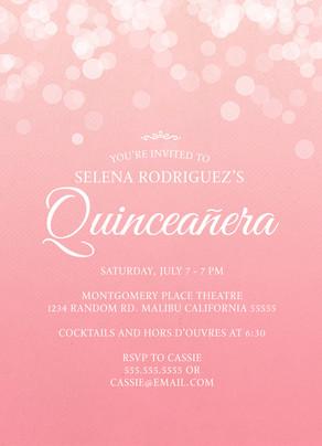 Quinceañera Invitation - Sparkles 5x7 Flat Card