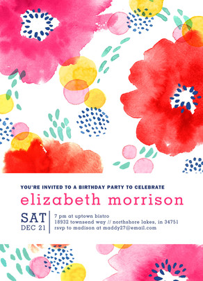 Custom Invitation - Colorful Watercolor Floral 5x7 Flat Card
