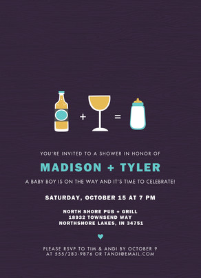 Custom Couples Shower Invitation - Boy 5x7 Flat Card