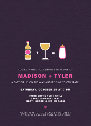 Custom Couples Shower Invitation - Girl 5x7 Flat Card
