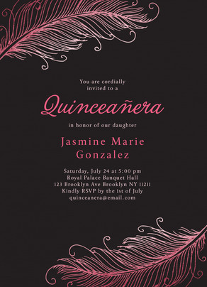 Quinceaera Invitation Feather Design Birthday Invitation Cardstore