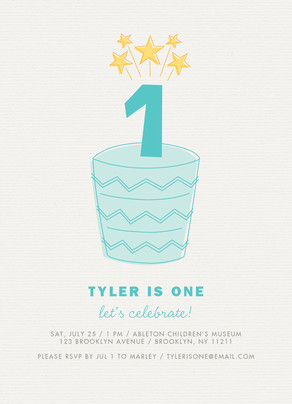 Custom Birthday Invitation - Blue Cake 5x7 Flat Card