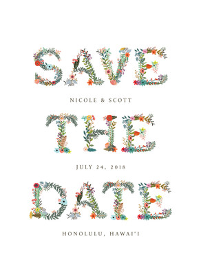 Save the Date - Floral Lettering 5x7 Flat Card