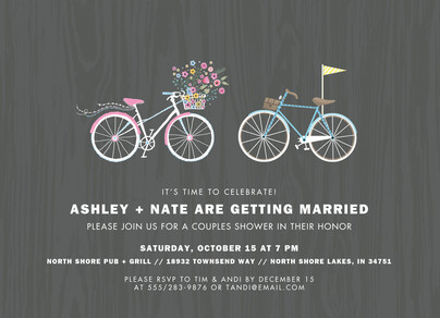 Custom Invitation - Bicycle Pair 7x5 Flat Card