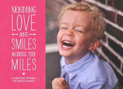 Across the Miles Valentine Photo Card - Pink 7x5 Flat Card