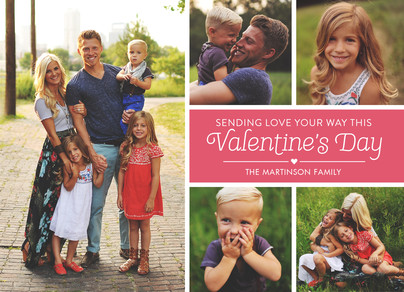Line Pattern Valentine Photo Card 7x5 Flat Card