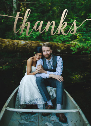 Gold Foil Overlay Photo Thank You 5x7 Folded Card