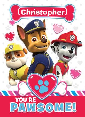 Paw Patrol Pawsome Valentine Card 5x7 Folded Card