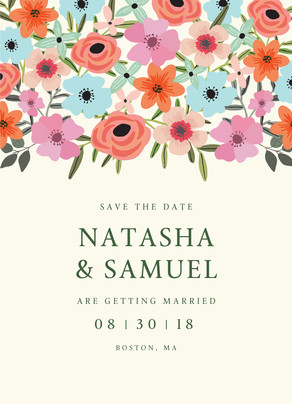 Floral on Cream Save the Date 5x7 Flat Card