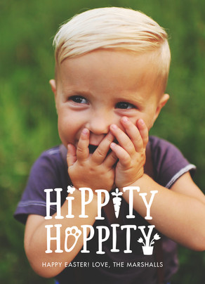 Hippity Hoppity Photo Easter Card 5x7 Flat Card