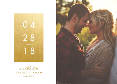 Gold Foil Look on Cream Save the Date 7x5 Flat Card
