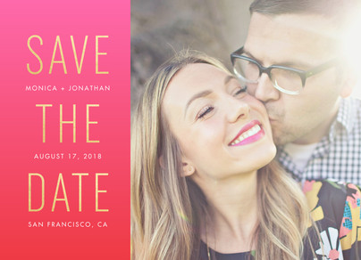 Gold on Pink Save the Date 7x5 Flat Card