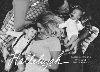 Script Hallelujah Photo Easter Card 7x5 Flat Card