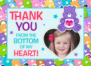 Care Bears Photo Birthday Thank You 5.25x3.75 Folded Card