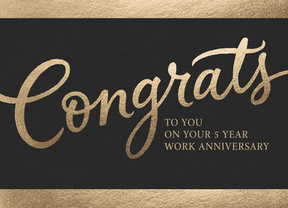Gold Script Congrats Card 7x5 Folded Card