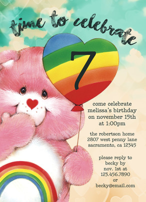Cheer Bear - Care Bears Invitation 5x7 Flat Card