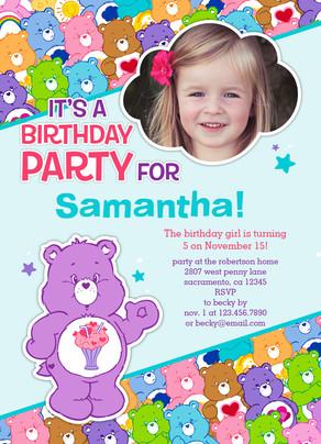 Care bears photo birthday party invitation birthday invitation care bears photo birthday party invitation 5x7 flat card stopboris Images