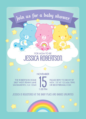 Care bears baby shower invitation baby shower invitation cardstore care bears baby shower invitation 5x7 flat card filmwisefo Choice Image