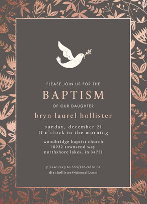 CYO Dove and Floral Invitation 5x7 Flat Card
