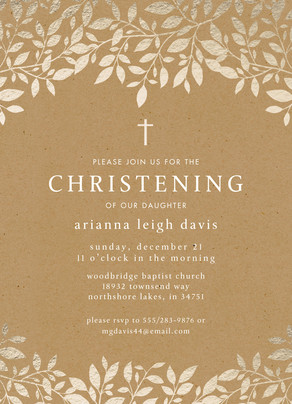 CYO Gold Foil with Cross Invitation 5x7 Flat Card