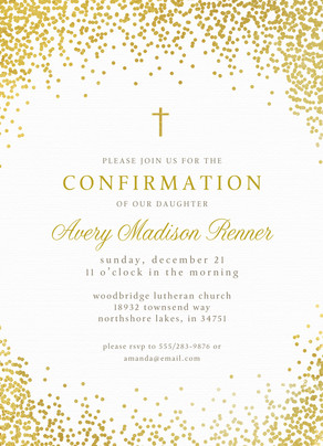 CYO Golden Glitter with Cross Invitation 5x7 Flat Card