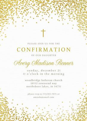 CYO Golden Glitter with Cross Invitation 5x7 Flat Card