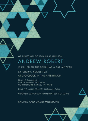 CYO Star Pattern Bar Mitzvah Invitation 5x7 Flat Card
