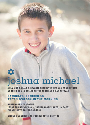 CYO Blue Star Photo Bar Mitzvah Invitation 5x7 Flat Card