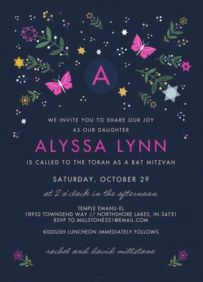 CYO Floral and Butterflies Bat Mitzvah Invitation 5x7 Flat Card