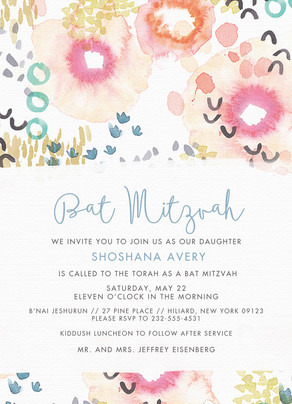 CYO Watercolor Bat Mitzvah Invitation 5x7 Flat Card