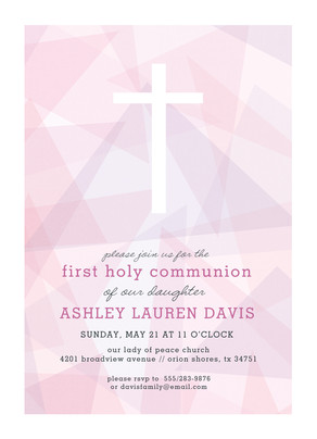 CYO White Cross on Pink Invitation 5x7 Flat Card