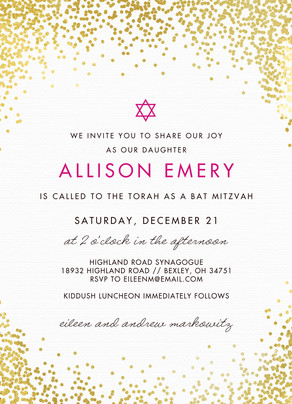 CYO Gold Glitter, Pink Star Bat Mitzvah Invitation 5x7 Flat Card