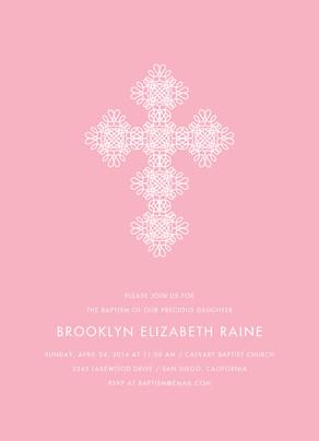 CYO White Cross on Pink Invitation 5x7 Flat Card